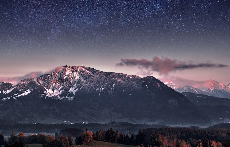 Фото обои лес, небо, звезды, деревья, горы, вечер, Германия, сумерки, Млечный Путь