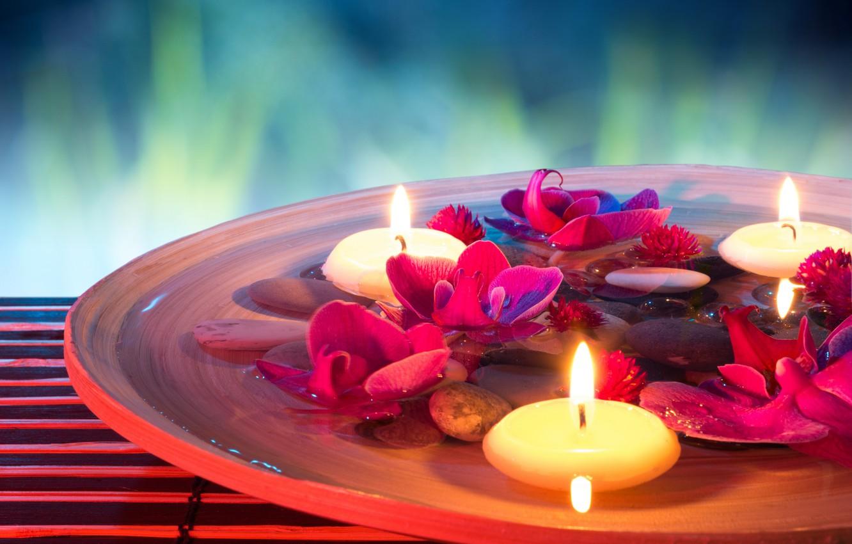 Обои Spa, цветы, spa stones, орхидеи, Вода, Спа камешки. Разное foto 15