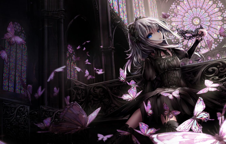 Фото обои девушка, бабочки, платье, маска, missle228