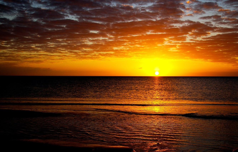 Фото обои море, солнце, закат