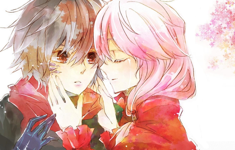 Фото обои руки, шарф, слеза, fan art, guilty crown, розовые волосы, inori yuzuriha, корона грешника, shu ouma