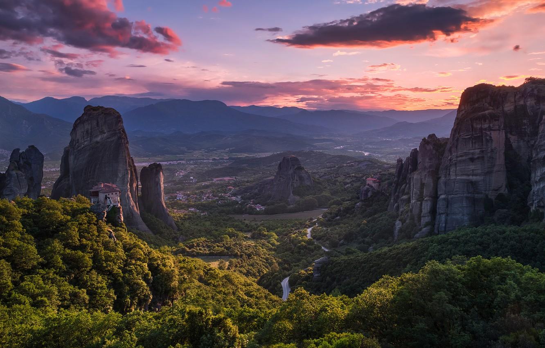 Фото обои горы, Греция, долина, панорама, Greece, Meteora, Thessalian Plain, Thessaly, горы Хасия, Монастыри Метеоры, Фессалийская равнина