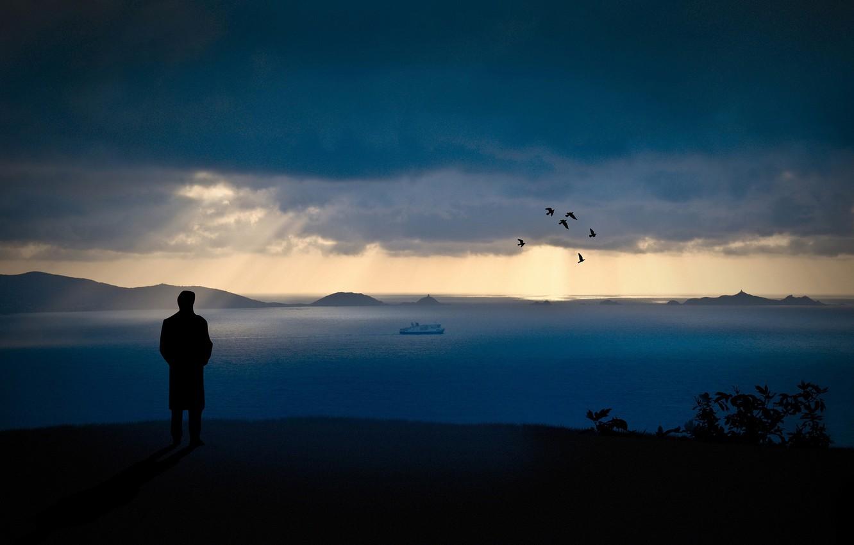 Фото обои небо, вода, горы, ночь, стиль, люди, настроение, скалы, романтика, настроения, пейзажи, человек, вид, вечер, парни, …