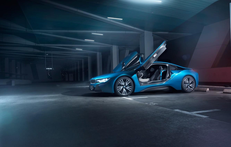 Фото обои BMW, Car, Blue, Front, Parking, Doors, Ligth