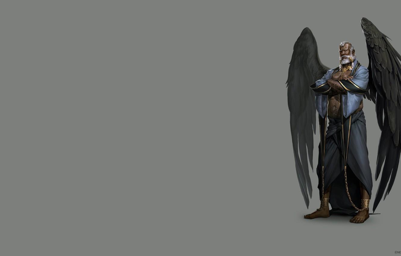 Фото обои крылья, арт, мужчина, цепи, оковы, раб, ира