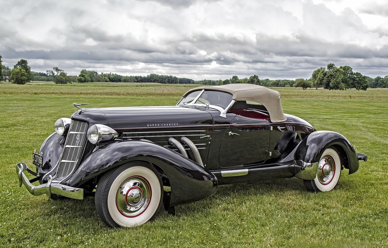 Фото обои ретро, классика, Auburn, 1935 Auburn 851 SC Boattail Speedster