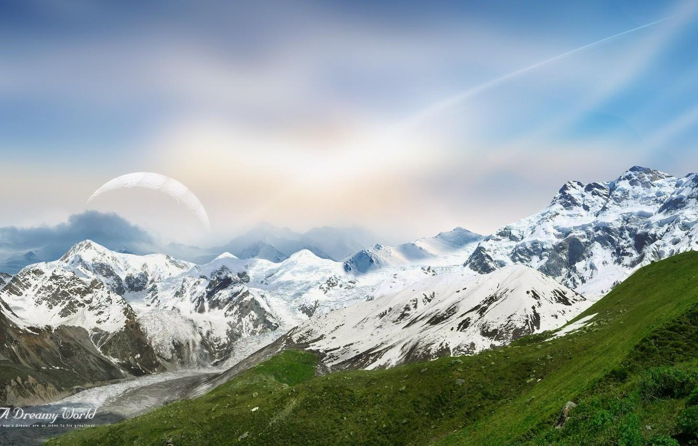 Фото обои небо, снег, горы, Dreamy World