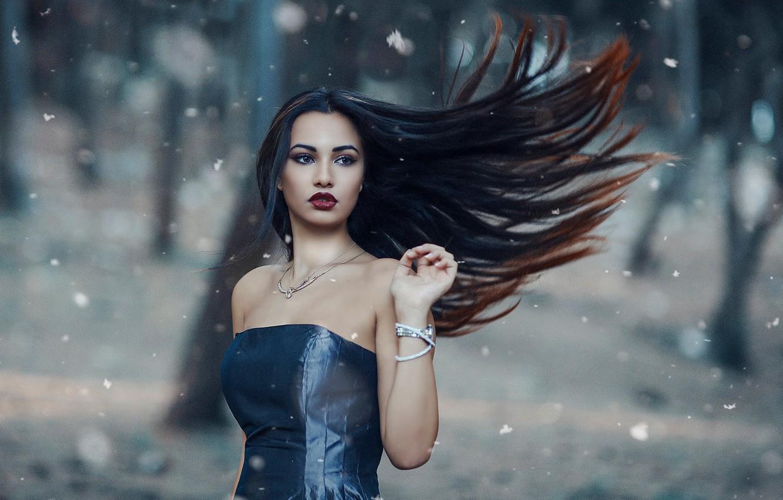 Фото обои девушка, ветер, волосы, макияж, Alessandro Di Cicco, The cold woods