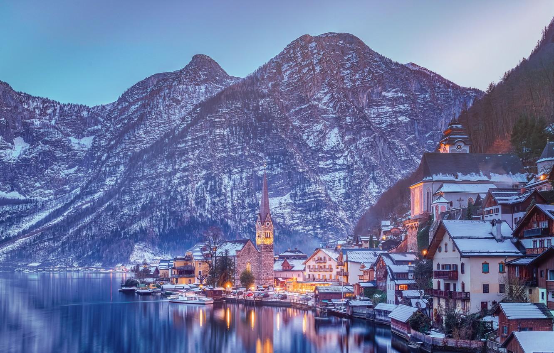 Обои австрия, дома, альпы, гальштат, hallstatt, austria. Города foto 7