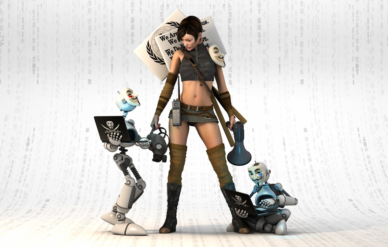 Фото обои взгляд, девушка, рендеринг, роботы, вендетта, маски
