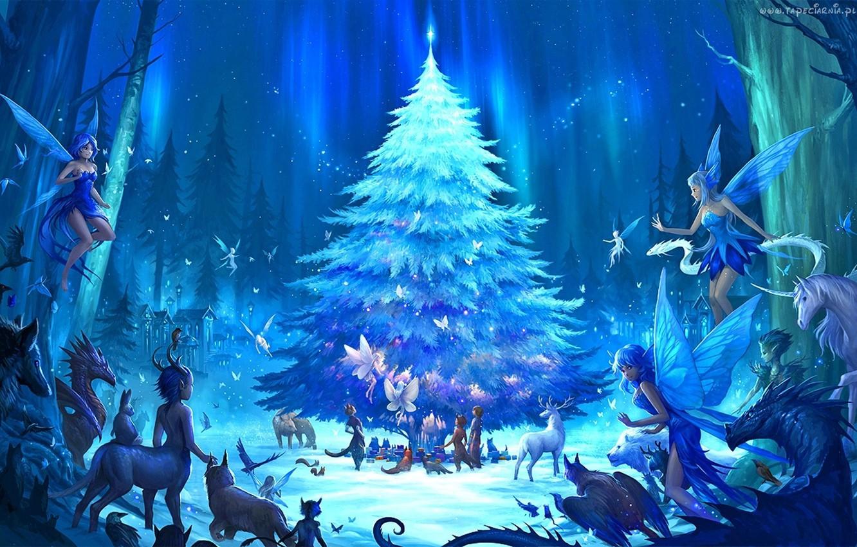 Фото обои лес, фентези, праздник, аниме, арт, эльфы, Новый год, ёлка, опушка