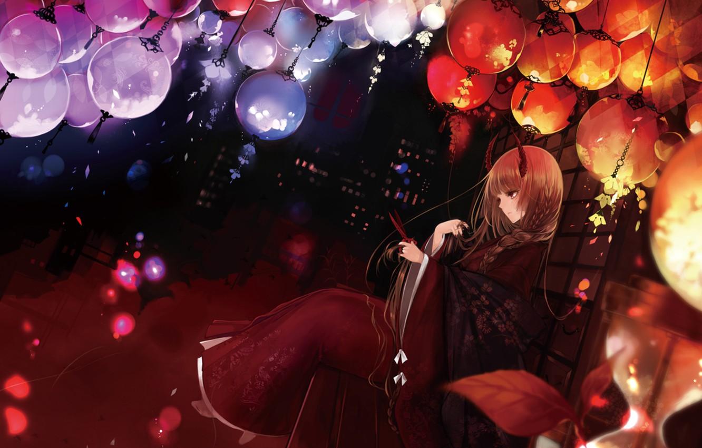 Фото обои девушка, фонари, рога, коса, кимоно, ножницы