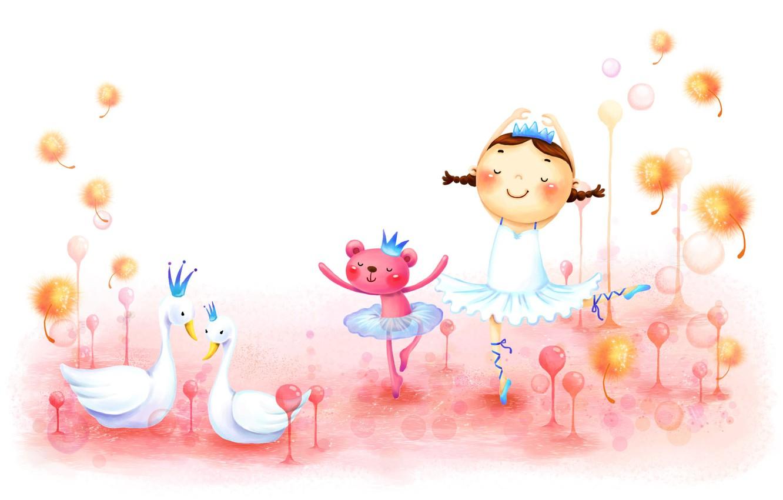 Фото обои детство, рисунок, танец, девочка, косички, лебеди, зверёк, сказочно