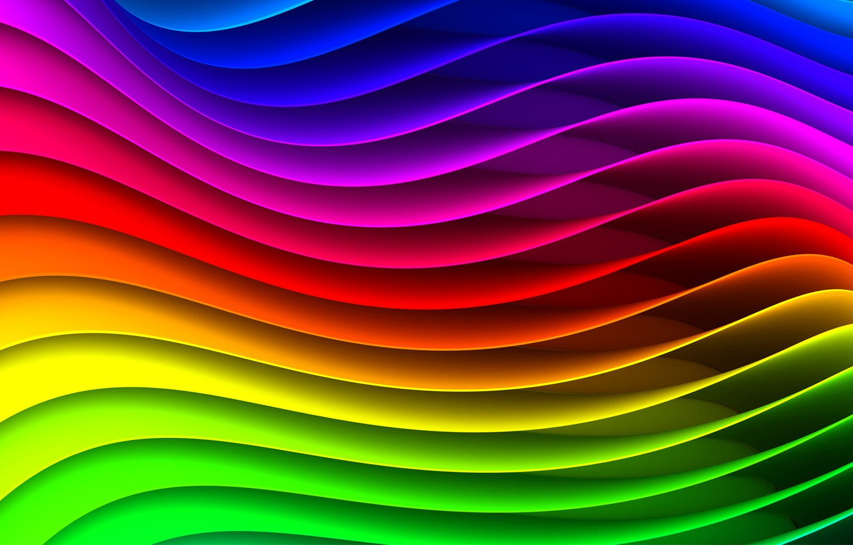 Фото обои волны, полосы, радуга, спектр, круговорот