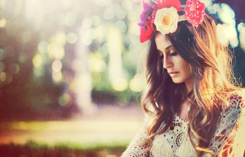 Фото обои лето, девушка, цветы, венок