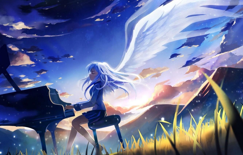 Фото обои аниме, angel beats!, ангельские ритмы, kanade tachibana