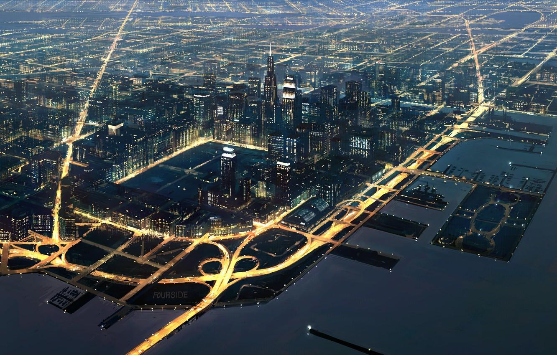 Фото обои ночь, огни, движение, города, транспорт, порт, Fourside mother2, большого
