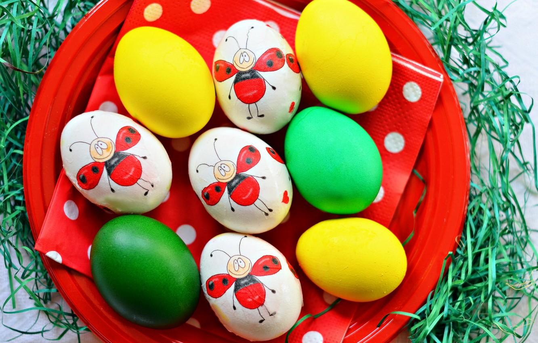 Фото обои праздник, рисунок, яйца, тарелка, пасха