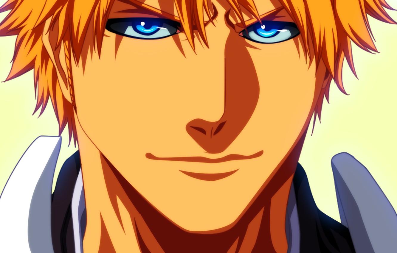 Фото обои взгляд, аниме, арт, парень, bleach, блондин, ichigo kurosaki, shinigami