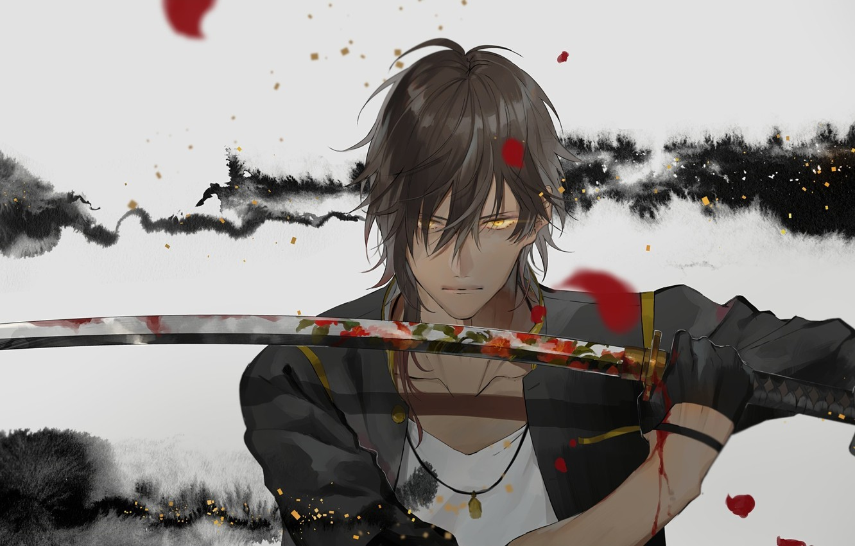 Фото обои взгляд, кровь, меч, арт, самурай, парень, стойка, touken ranbu
