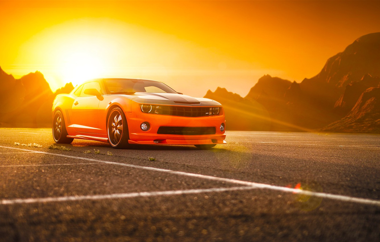 Фото обои Chevrolet, Muscle, Camaro, Orange, Car, Power, Front, Sun, Tuning, Wheels, Beam