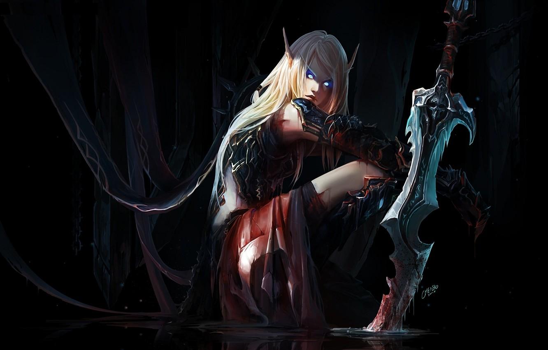 Фото обои глаза, вода, девушка, кровь, эльф, меч, арт, эльфийка, уши, world of warcraft, мрачность, раны, chenbo