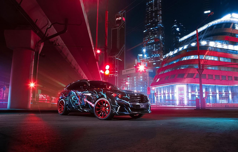 Фото обои Infiniti, Light, Red, Car, Blue, Batman vs Superman, QX70