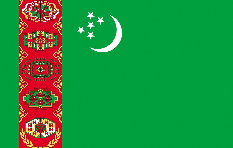 Фото обои флаг, зелёный, орнамент, Туркменистан