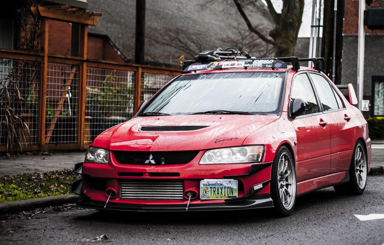 Фото обои Красная, Mitsubishi, Lancer, Red, Lights, Tuning, Лансер, JDM, Wheels, Evolution 9, Митсубиcи, Эволюшн 9