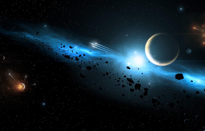 Фото обои Галактика, Звезды, Планета, Космос, Space, Galaxy