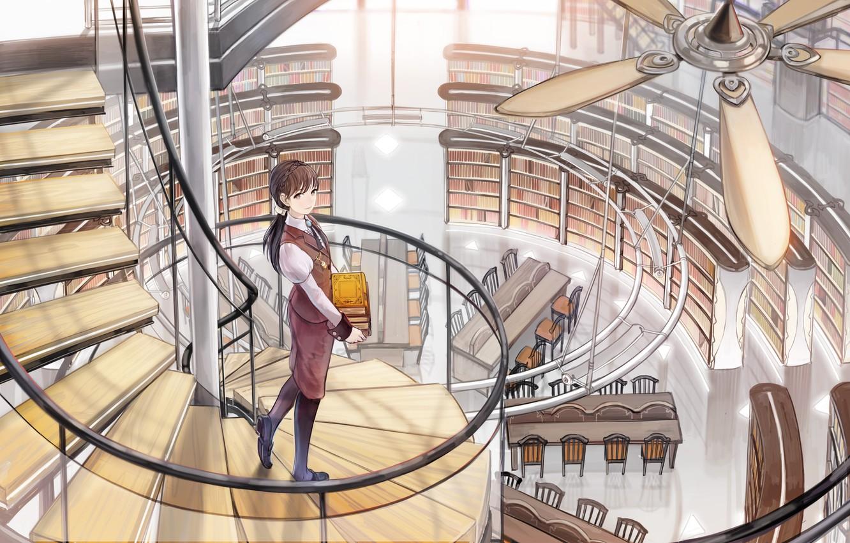 Фото обои девушка, книги, вентилятор, арт, лестница, библиотека, shimetta oshime, винтовая