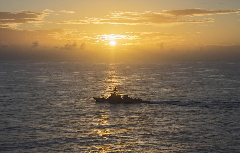 Фото обои закат, оружие, корабль, PHILIPPINE SEA, USS Michael Murphy (DDG 112), guided-missile destroyer