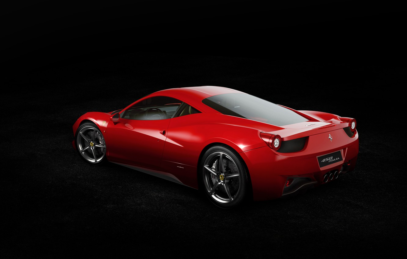 Фото обои Ferrari, Red, 458, Widescreen, Italia, Supercar, Italian, Rear
