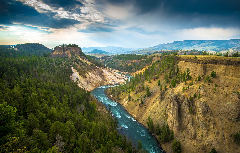 Фото обои деревья, горы, природа, река, Yellowstone National Park