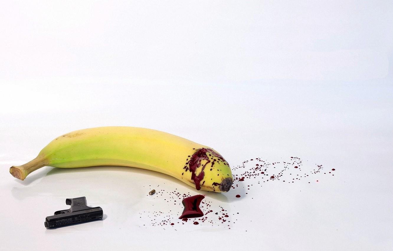 Фото обои пистолет, банан, лужа крови, Суицид