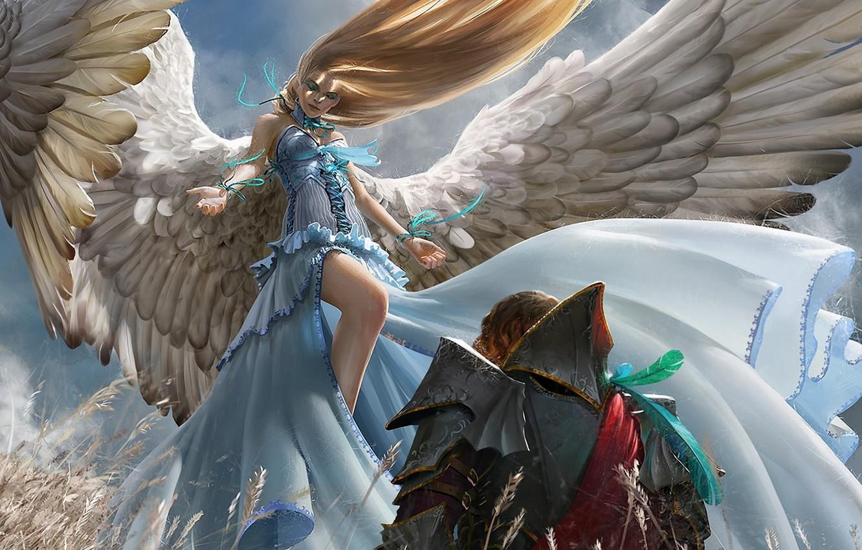 Фото обои поле, девушка, ленты, крылья, ангел, перья, арт, мужчина, колосья, рыцарь, доспех, algenpfleger