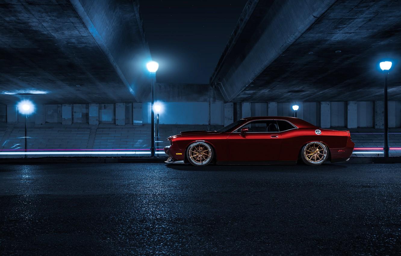 Фото обои Muscle, Dodge, Challenger, Red, Car, Candy, Side, American, Wheels, Avant, Garde