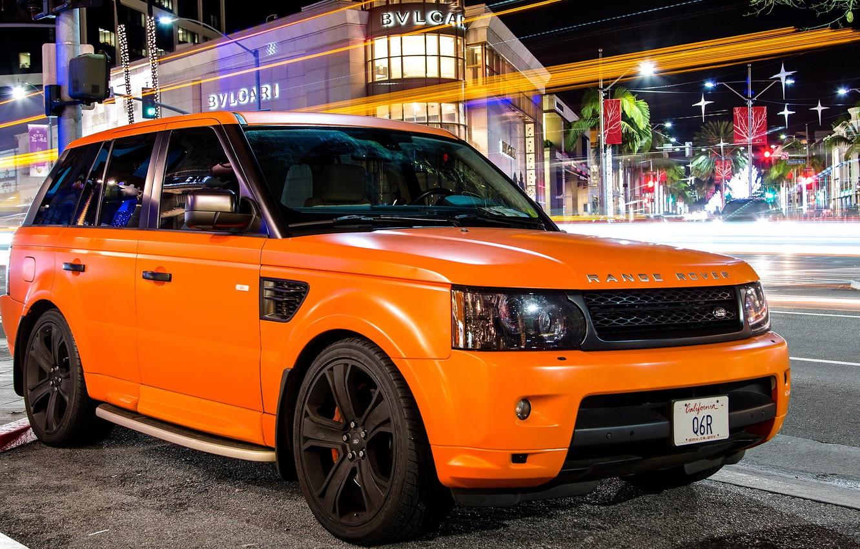 Фото обои оранжевый, тюнинг, sport, Land Rover, orange, ленд ровер, matte