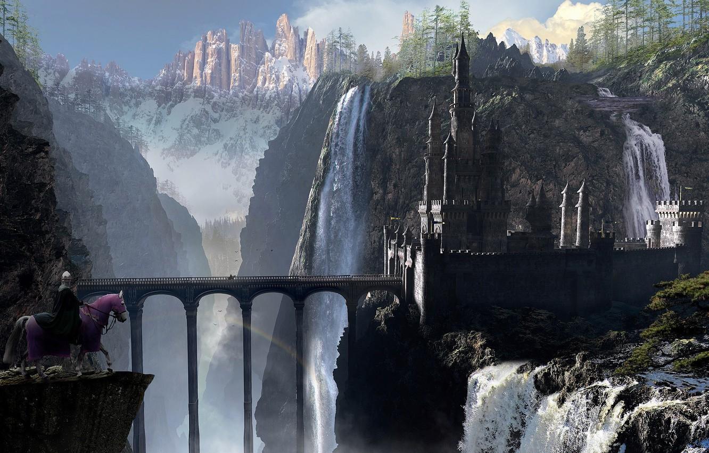 Фото обои мост, замок, конь, арт, всадник, арки, водопады
