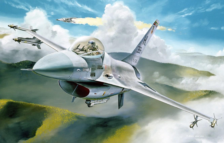 Обои Самолёт, F16. Авиация foto 17