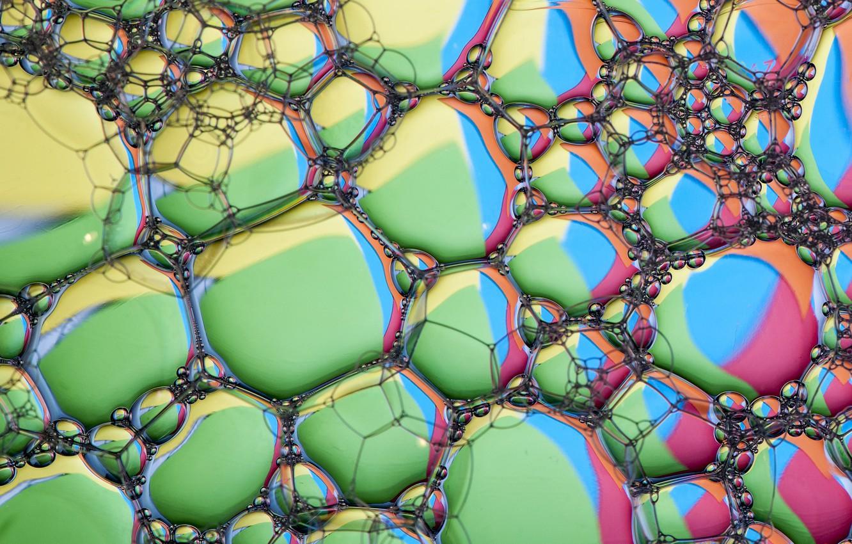 Фото обои пена, пузырьки, блеск, цвет, объем
