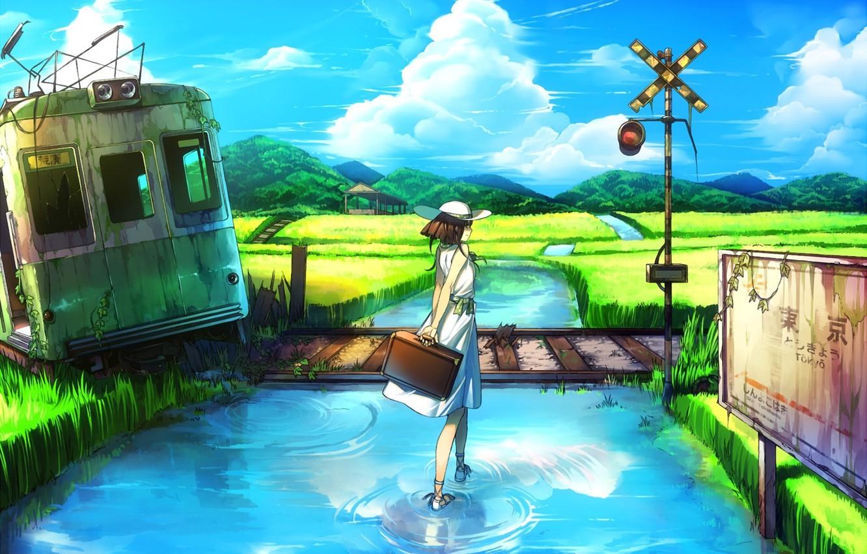 Фото обои вода, девушка, пейзаж, река, табличка, шляпа, арт, вагон, указатель, железная дорога, чемодан, руины, заброшенность, багаж