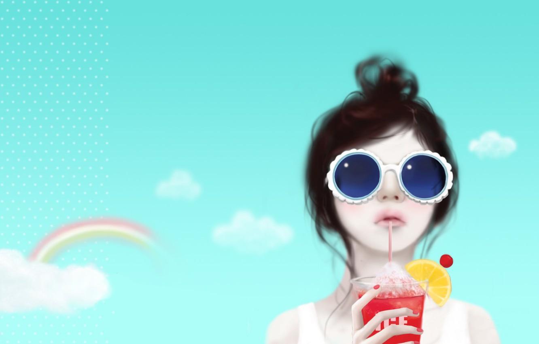Фото обои небо, девушка, облака, задумчивость, лимон, радуга, коктейль, трубочка, причёска, Enakei, тёмные очки