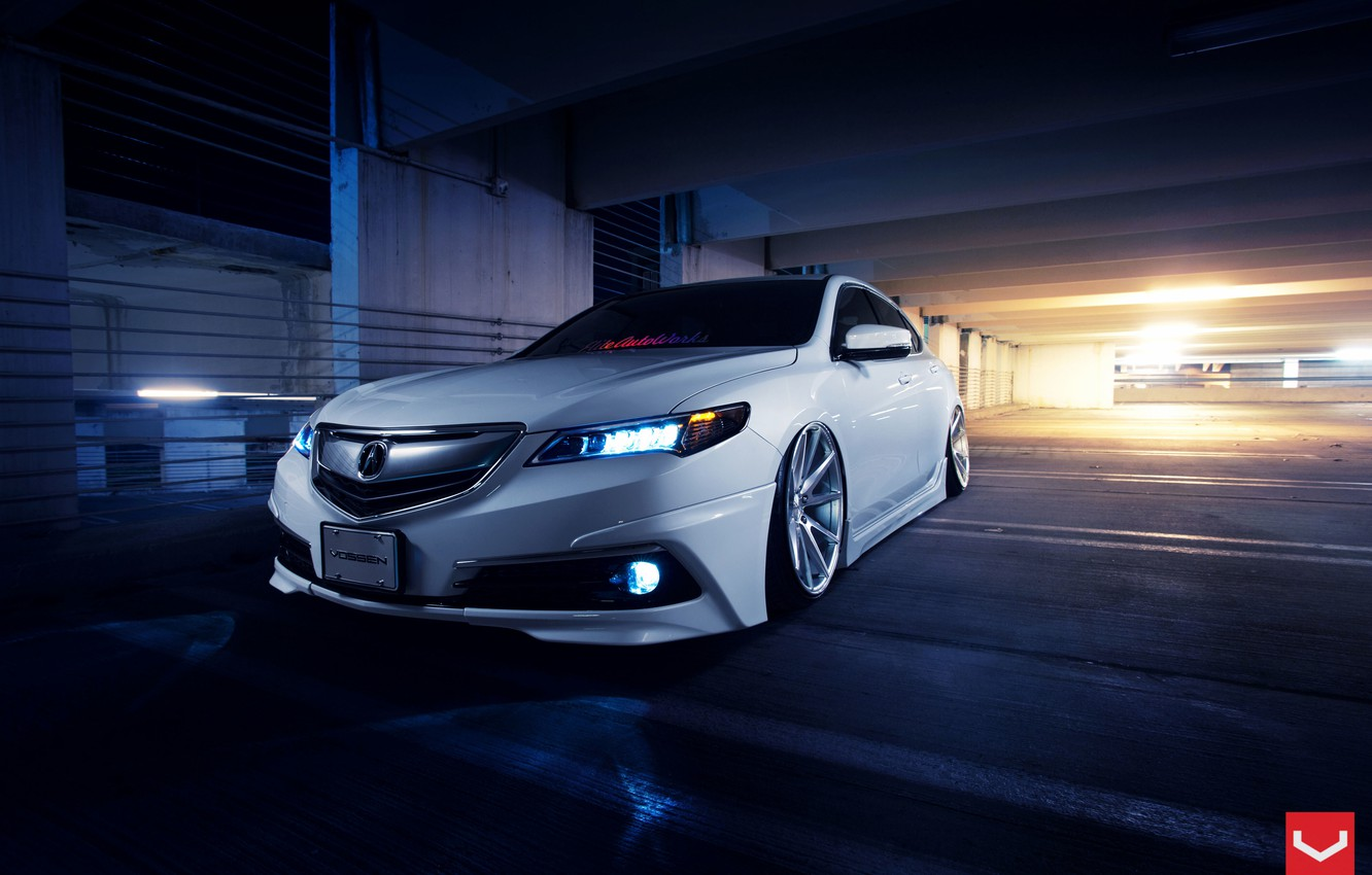 Фото обои Car, Front, White, Tuning, Acura, Vossen, Wheels, TLX, Nigth