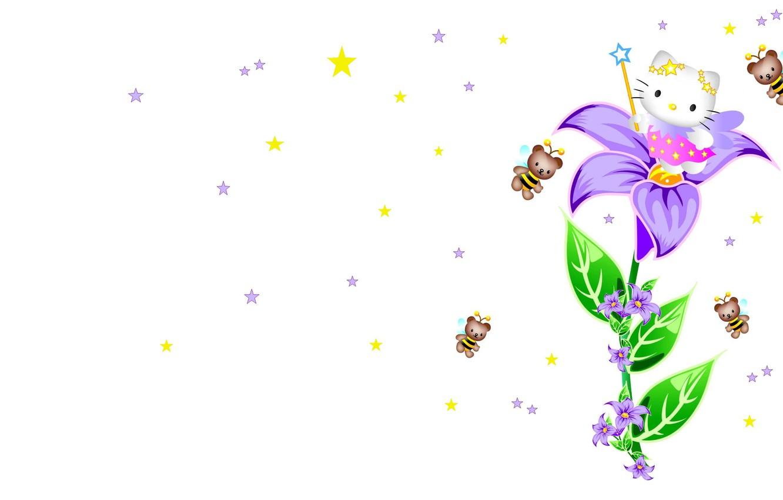 Фото обои арт, звёздочки, пчёлка, Hello Kitty, волшебная палочка, детская, кошечка