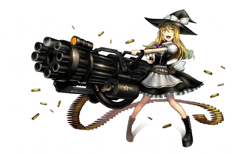 Фото обои девушка, оружие, игра, шляпа, аниме, гильзы, art, Touhou, Gia, пулемет Гатлинга, Marisa Kirisame