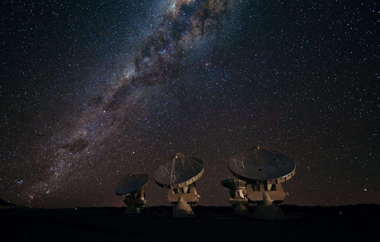Фото обои звезды, Млечный путь, галактика, радиотелескоп