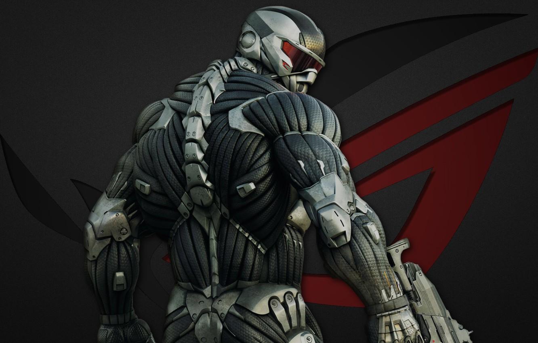 Фото обои Crysis, red, gun, logo, game, soldier, weapon, grey, New York, man, nanosuit, Asus, rifle, suit, …