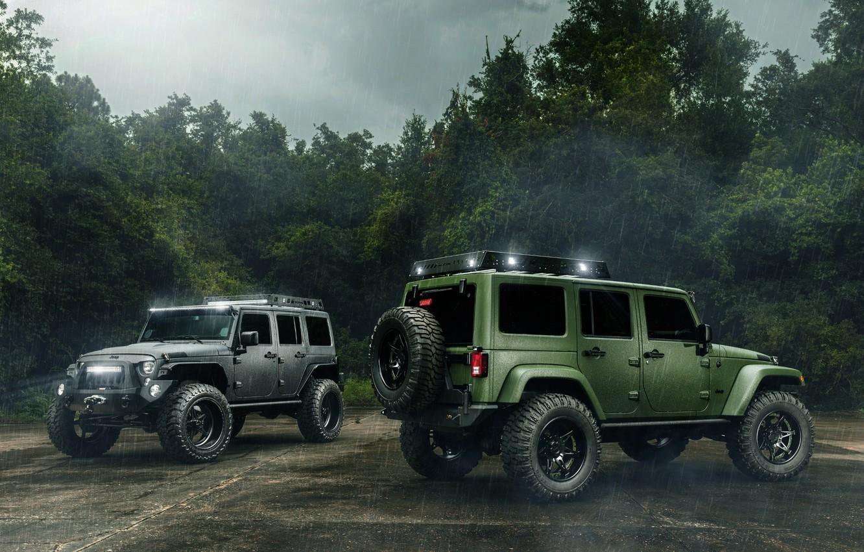 Фото обои Cars, Green, Black, Rain, Wrangler, Jeep, Off Road
