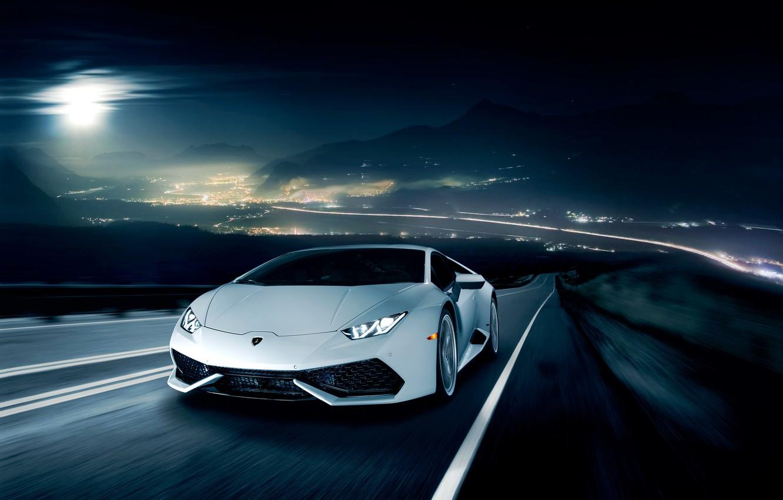 Фото обои ночь, движение, Lamborghini, горизонт, white, front, LP 610-4, Huracan, Ronaldo Stewart, LB724